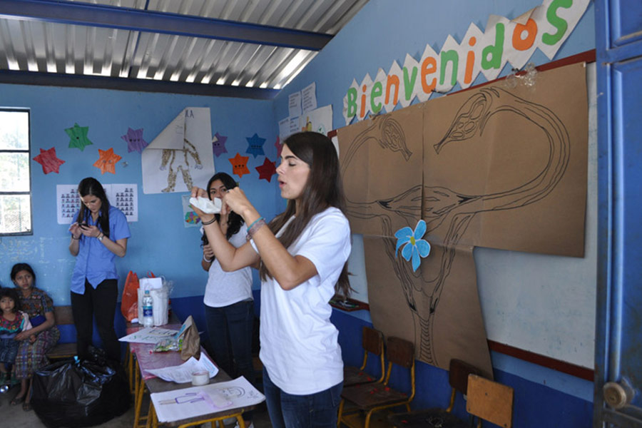 SHEVA Team teaching about menstruation and the use of sanitary pads at San Jose Poaquil