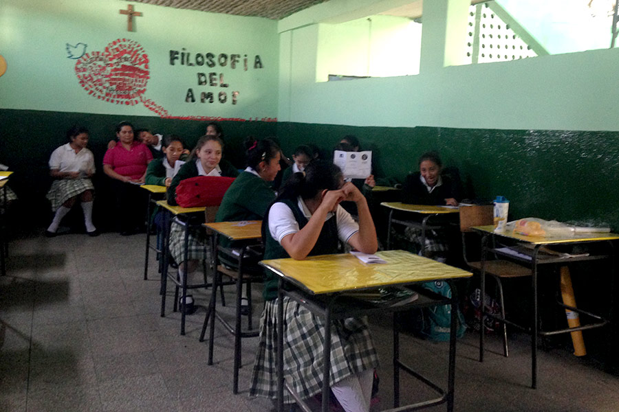 Girls at workshop in Liceo La Juventud