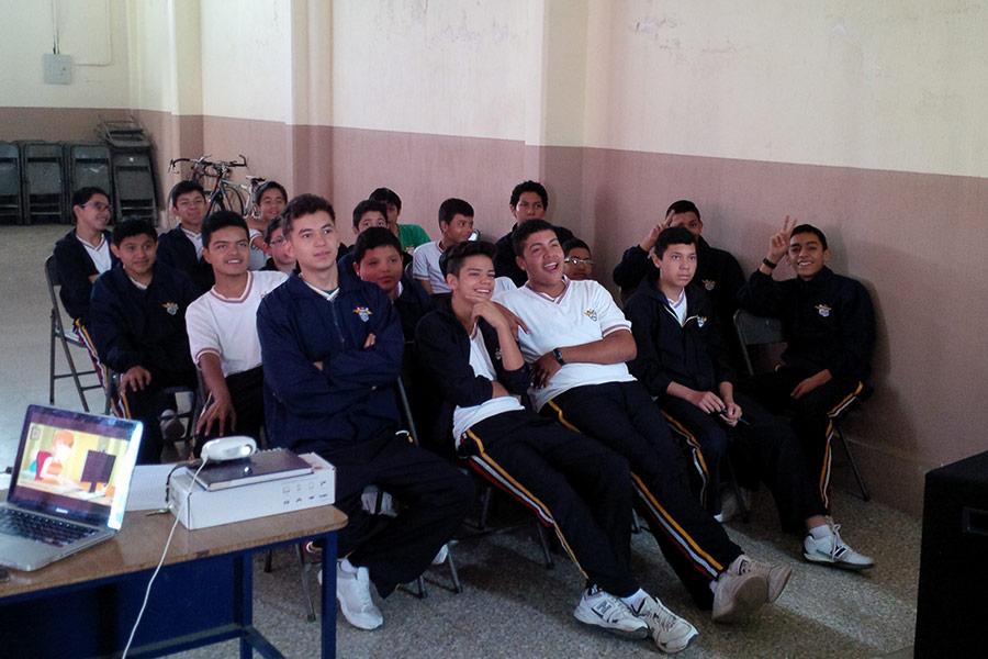 Boys attending workshop at Colegio Jesus Resucitado