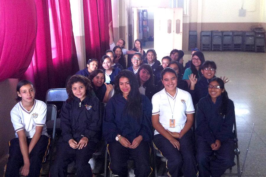 Girls attending workshop at Colegio Jesus Resucitado