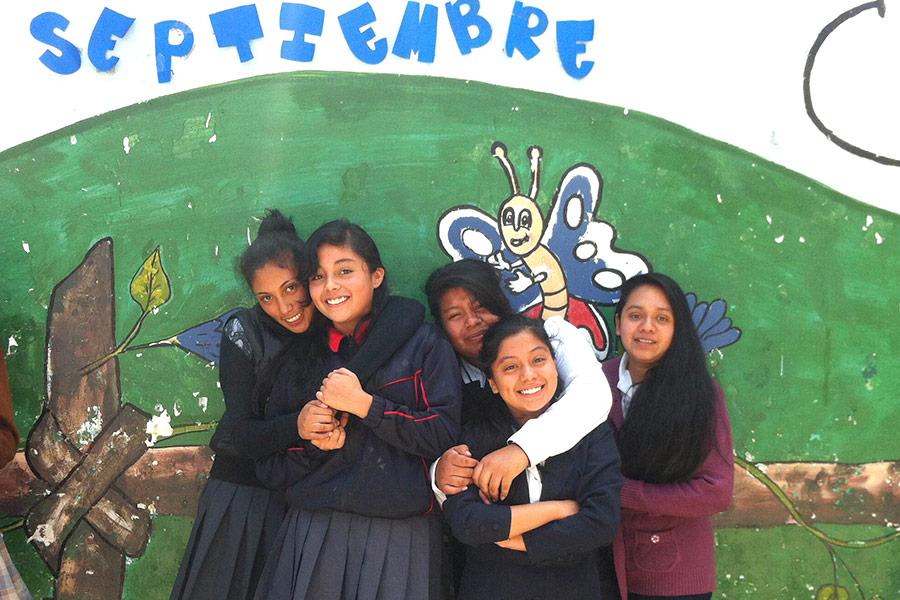 Group of girls from Colegio La Paz
