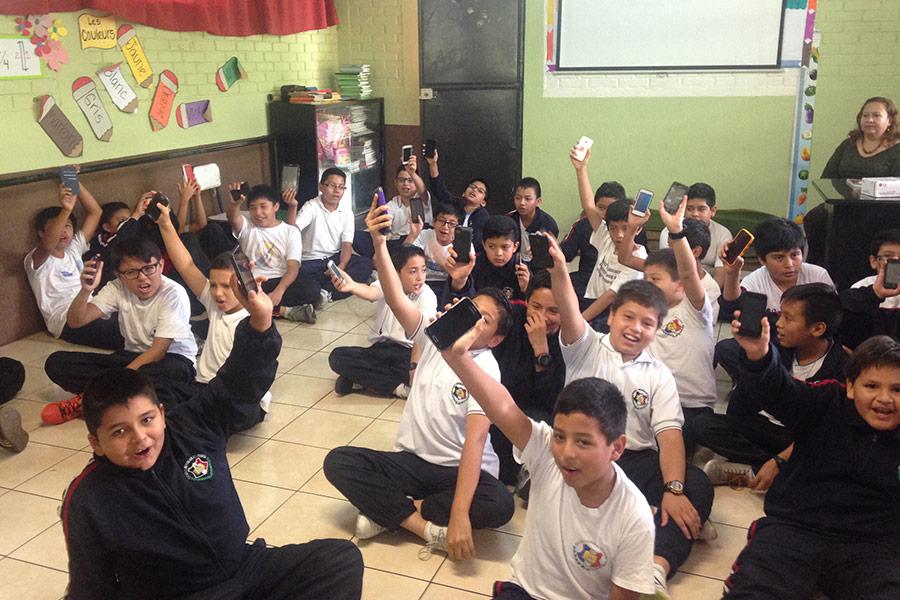 Boys participating in workshop at Escuela República de Francia