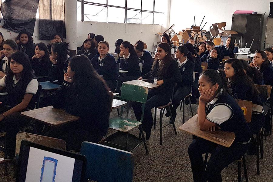 Girls attending employment workshop at Instituto Normal para Señoritas Centroamérica