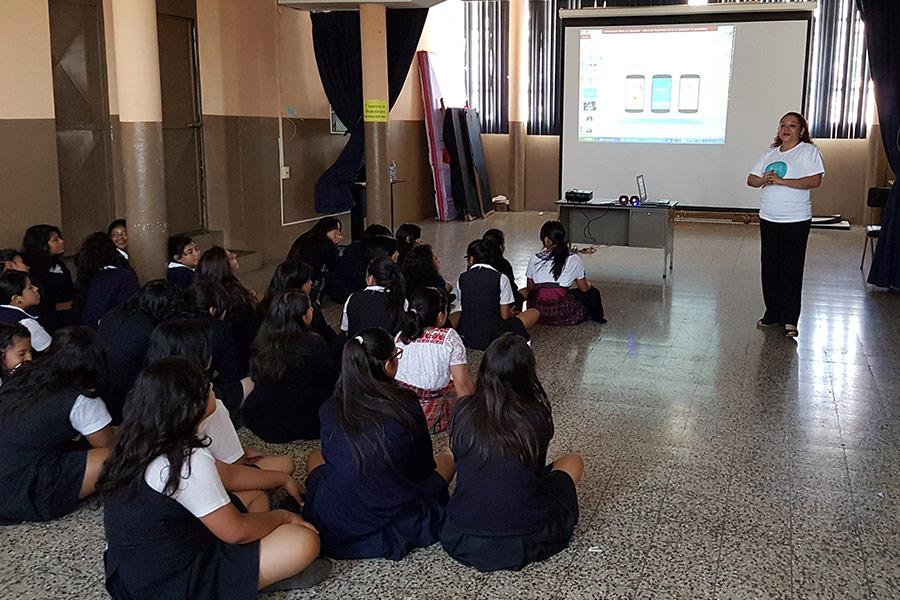 Ivonne Agustin giving education workshop at Instituto Normal para Señoritas Centroamérica