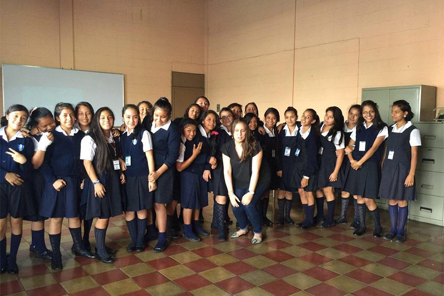 Pamela Avilés with participants of education workshop at Instituto Normal para Señoritas Centroamérica